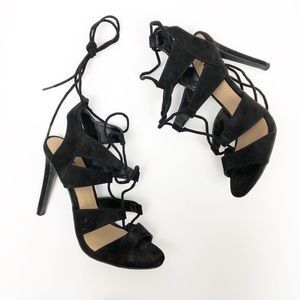 Mossimo Lace Up Heels Sandals Black Strappy 7.5